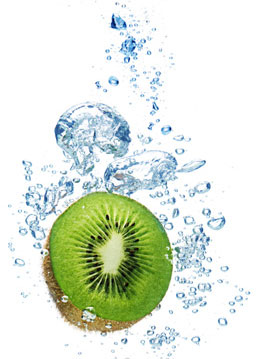 Kiwi fruit splashing in water